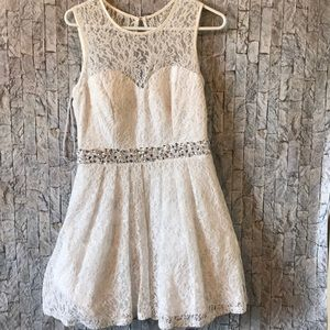 White with simmers lace dress